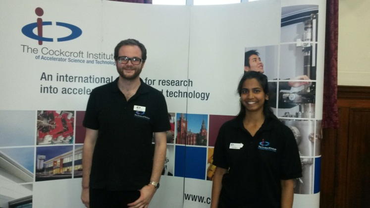 Billy and Sonal representing the Cockcroft Institute at a STEM Careers fair at Altrincham Grammar school.