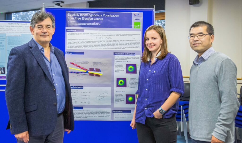 Jenny Morgan – winner of best poster - with Peter Ratoff and Guoxing Xia.