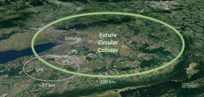A schematic map showing where the Future Circular Collider tunnel is proposed to be located (Image: CERN).