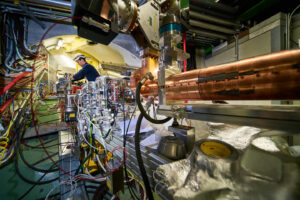 Photograph of the AWAKE beam line. Image copyright CERN/Maximilien Brice